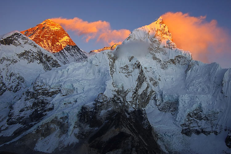 Himalayan mountains nature pictures - Everest 8848m and Nupse 7864m